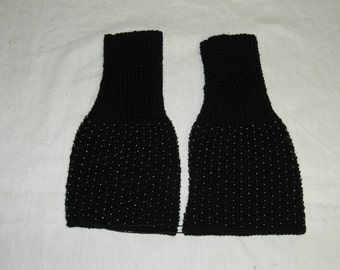 Reproduction 1860s knitted undersleeves with beads