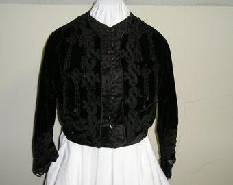 1903-9 Black Velvet Jacket Heavily trimmed