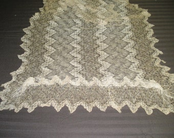 Ecru and gold knitted shawl
