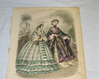 1850-60s Le Bon Ton Journal De Modes and 5 fashion plates