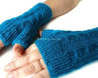Short Teal Fingerless Knit Gloves