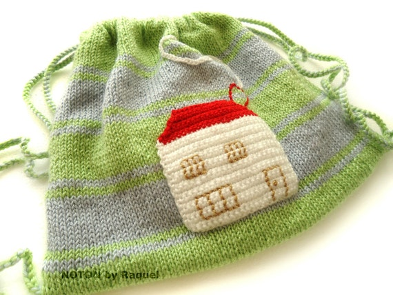 Knitted Children Bag in Green and Blue with Crochet House - Black Friday Etsy Cyber Monday Etsy