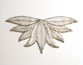 White silver patch, Vintage Hand Beaded Appliques, Sewing Applique Patch