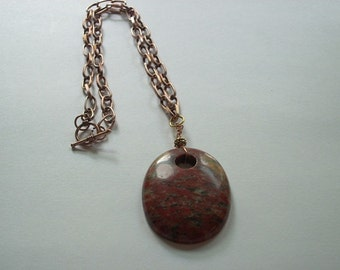 Natural Red Stone pendant on 18 inch copper chain deep rich earthy colors