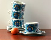 """Vintage Set of four cups and four large saucers """"Izmir"""" by Villeroy & Boch - 1973"""