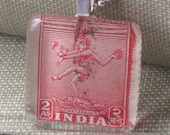 Vintage 1949 Nataraja Red Postage Stamp from India Glass Tile Pendant Necklace