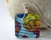 Vintage 1983 Hot Air Balloon US Postage Stamp Glass Tile Pendant Necklace