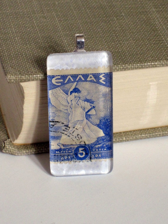 Vintage Greece Postage Stamp Glass Tile Domino size Pendant Necklace  Blue