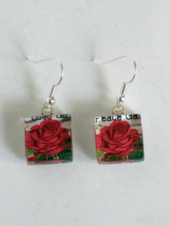 Vintage 1983 Red Rose Postage Stamp Glass Tile Dangle Earrings International Peace Garden