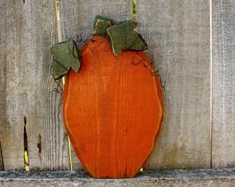Chunky Carved Wood Pumpkin, Halloween, Autumn & Thanksgiving, Chunky Wood Carved Pumpkin with Leaves and Wire Detail, Harvest Decor Pumpkin