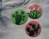 3 Soviet CACTUSes vintage metal buttons / badges- made in USSR era Russia. 1970's.
