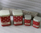4 Soviet unused tin canisters. Vintage red polka dot storage box set. Russian USSR era 1970's decor.