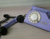Soviet rotary dial phone from 1972- pastel lilac telephone model TA-72 from Russian USSR era.
