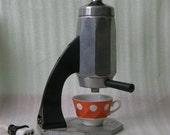 Soviet big espresso machine. 1960's. Vintage industrial retro kitchen equipment, coffee maker. Russian USSR era.