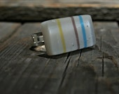 Fused Glass Ring - Sparkling white with stripes