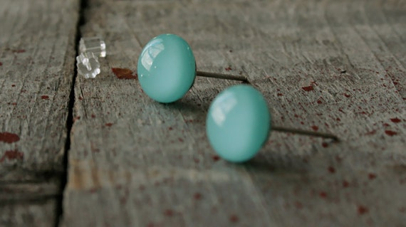 """Turquoise Stud Glass Earrings - Sterling Silver Posts - """"mini"""""""