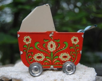 Sale on 1940's Precious Antique Tin Baby Carriage from Germany in colors of Red and Cream