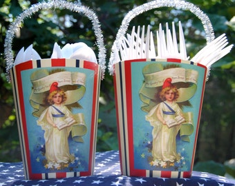 Patriotic Fourth of July Red white and blue Silverware caddy / Gift Basket with Victorian child