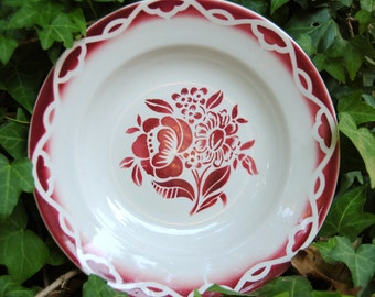 Gorgeous French Faience Plate/Shallow Soup Bowl in Brilliant French Red pattern called Odette