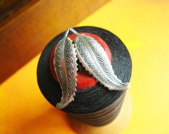 Vintage Leaf Earrings and Pin by Beau Sterling
