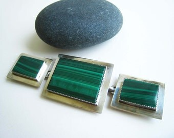 Vintage Malachite and Sterling Silver Jackson Buckle