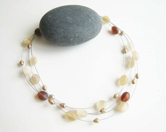 Vintage Frosted Lucite and Pearl Floating Bead Necklace