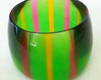 Striped Green Lucite Cuff Bracelet