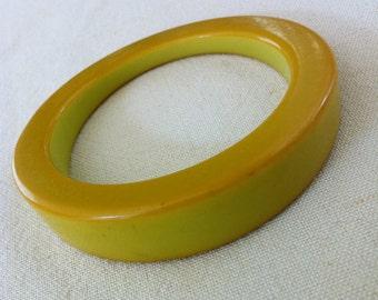 Chartreuse Bakelite Asymmetrical Bangle Bracelet