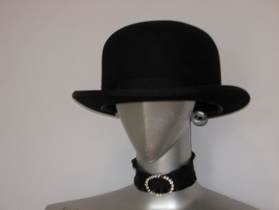 "Vintage Black Felt Bowler/Unisex/ "" Unbearable Lightness of Being """