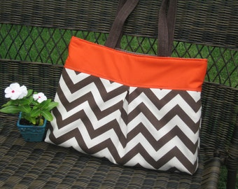 Pleated Handbag in Chocolate Brown Zig Zag and Orange
