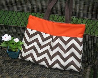 Pleated Handbag in Chocolate Brown Zig Zag and Orange