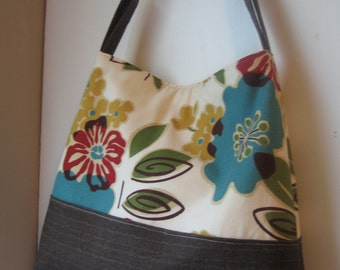 Light Cream Floral Handbag Tote