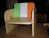 Irish Toddler Chair w/ Ireland flag Hand painted, Hand crafted knotty pine childs chair