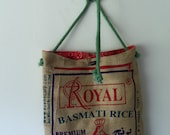 Burlap Basmati Rice Upcycled Adjustable Strap Bag
