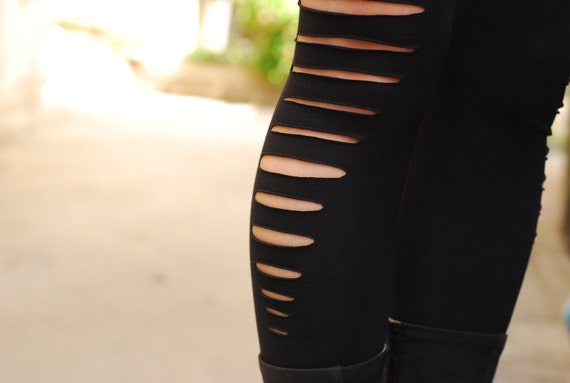 Black Cut Out Long Leggings