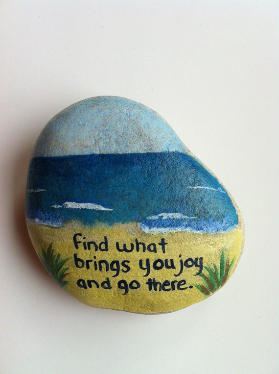 Items similar to hand painted rock w beautiful quote on etsy - Painting rocks for garden what kind of paint ...