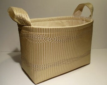 Fabric Basket Organizer Storage Container Bin -Elegant Tan Stripe w/Ivory Interior