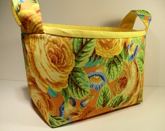 Fabric Storage Basket Bin Organizer Storage Container-Yellow Roses with Yellow Interior