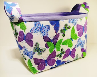 Fabric Storage Basket Organizer Bin Storage Container-Purple Multi-Color Butterflies with Lavender Trim and Interior