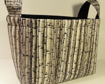 Fabric Storage Basket Bin Organizer Storage Container-Birch Trees with Black Interior