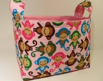 Fabric Storage Basket Bin Organizer Storage Container-Urban Zoologie-Monkeys on Pink with Pink Interior
