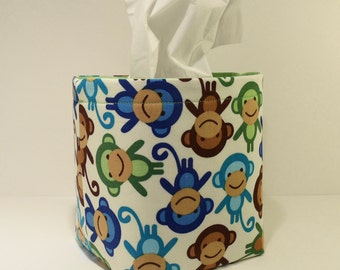Tissue Holder-Fabric Basket Organizer Bin Storage Container-Urban Zoologie-Monkeys on White with LIme Green Interior