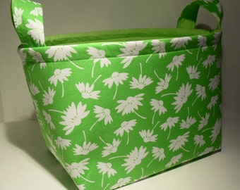 Large Fabric Storage Basket Bin Organizer Storage Container-Daisy Silhouette on Green with Lime Green Interior