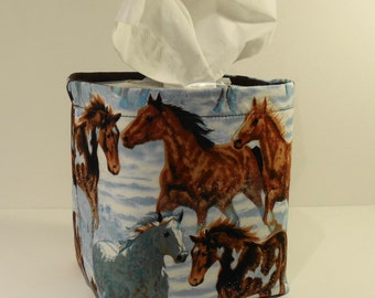 Tissue Holder-Fabric Basket Organizer Bin Storage Container-Horses with Solid Brown Interior