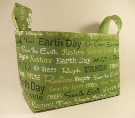 Fabric Basket Organizer Bin Storage Container-Earth Day, Recycle, Restore, etc. Messages on Green with Lime Green Interior