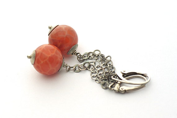 Carnelian Agate Earrings, Long Earrings, sterling silver 925