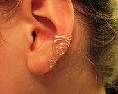 Ear Cuff, Single Sterling Silver OR Silver Plated Ear Cuff with swirls, Choose Left or Right