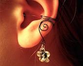 Ear Cuffs, Pair of earcuffs with antique silver flower charms, Flower Ear Cuff Earrings, Antique Silver, non pierced earrings