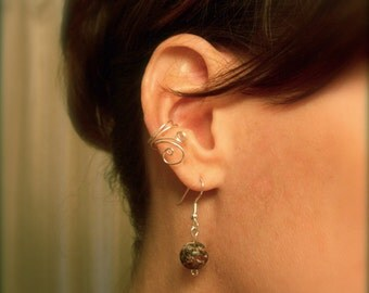 Asymmetrical Ear Cuff Set Silver Swirls Galore, available in Silver Plated or Solid Sterling Silver Wire
