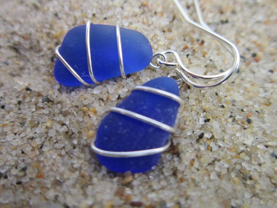 Sea Glass Earrings, Wire Wrapped, Cobalt Blue